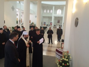His Beatitude, Patriarch Sviatoslav, blesses internee plaque, Kyiv, 28 Oct 2015